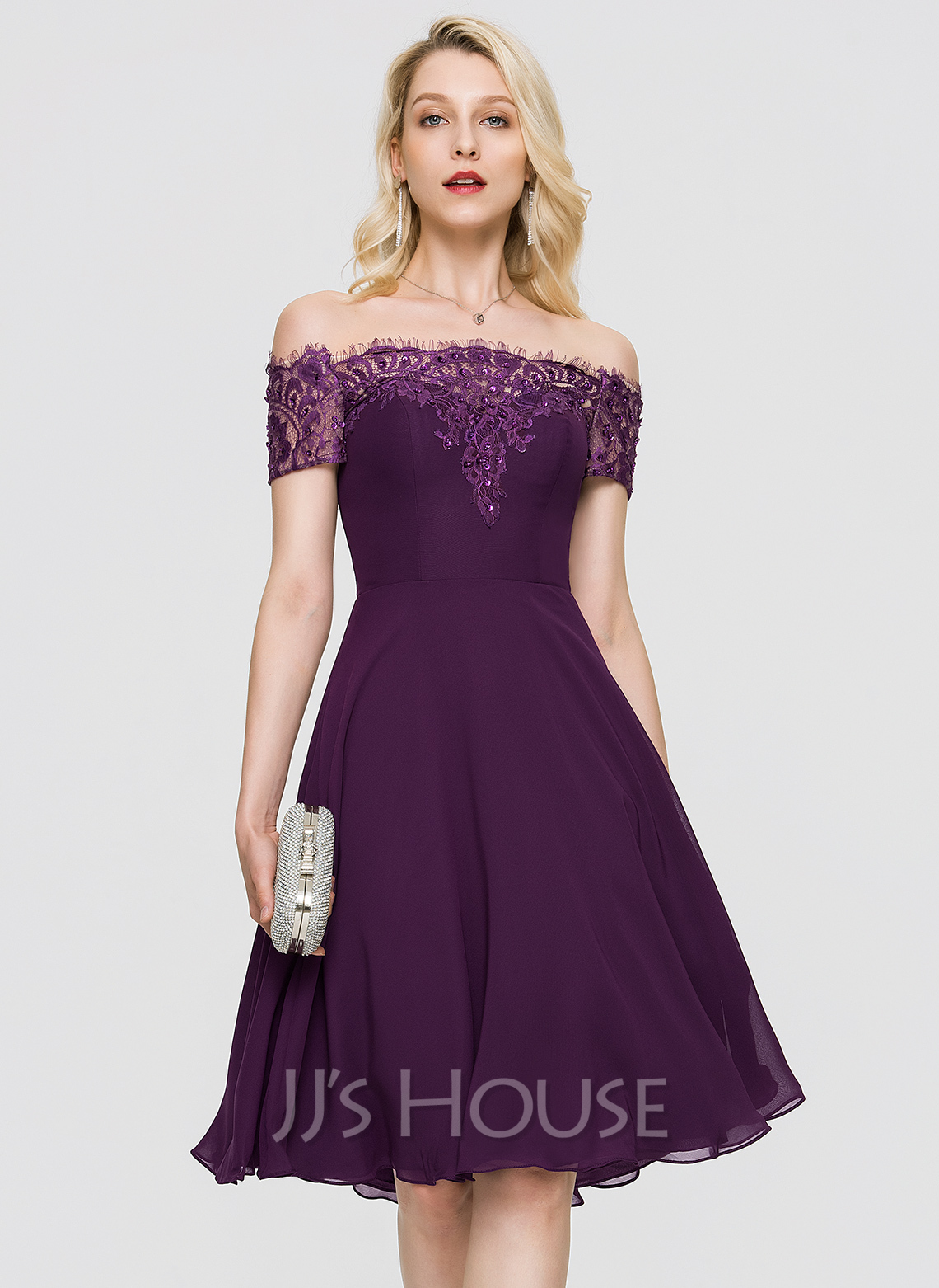 Off-the-Shoulder Knee-Length Chiffon Cocktail Dress With Beading Sequins