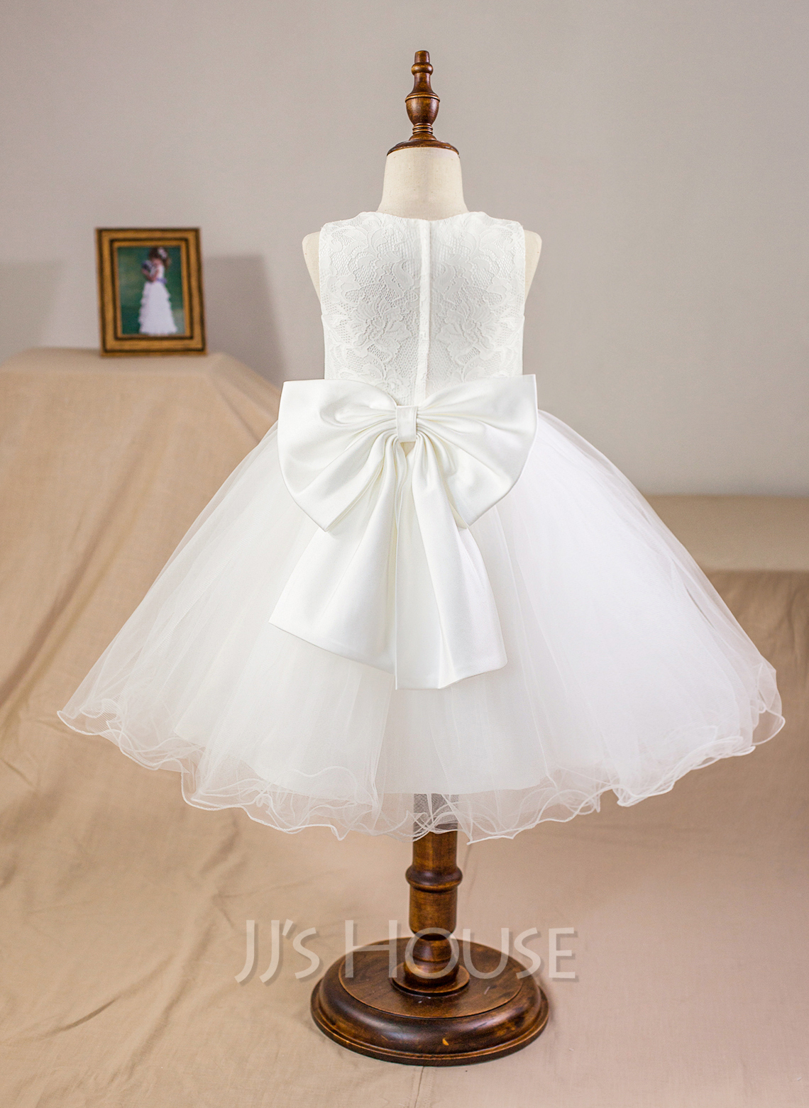 Ball Gown Knee Length Flower Girl Dress Satintullelace