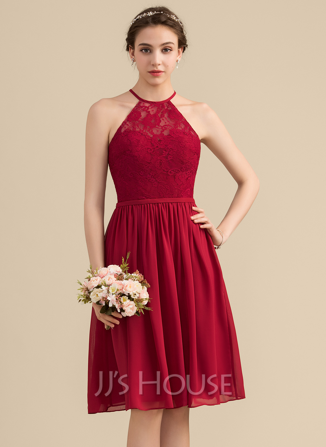 2de7af038f99a A-Line/Princess Scoop Neck Knee-Length Chiffon Lace Bridesmaid Dress.  Loading zoom