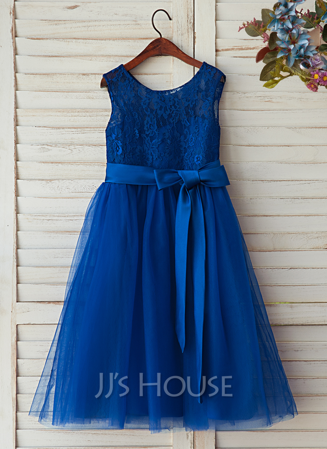 A-Line/Princess Tea-length Flower Girl Dress - Satin/Tulle/Lace Sleeveless Scoop Neck With Sash