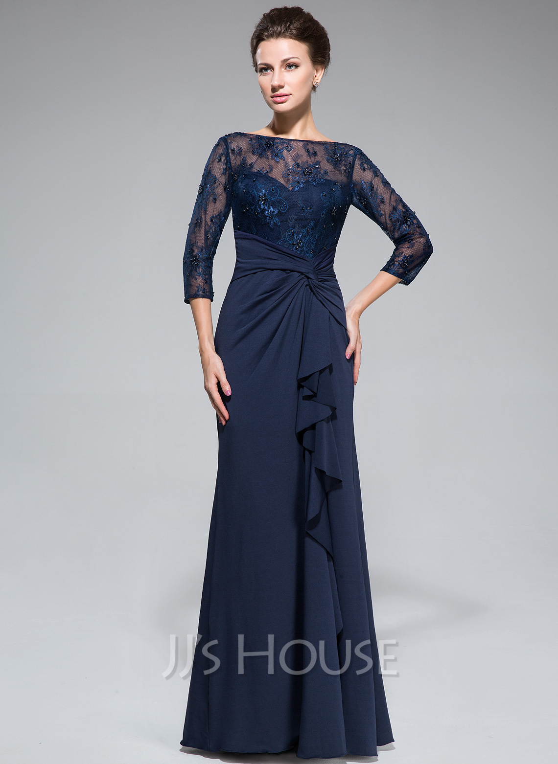 29fc8870d2 Empire Scoop Neck Floor-Length Lace Jersey Mother of the Bride Dress With  Beading Sequins. Loading zoom