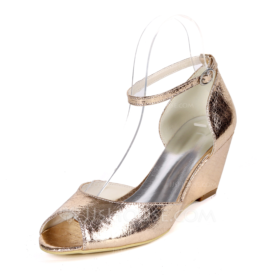 Women's Patent Leather Wedge Heel Pumps Wedges With Buckle Animal Print