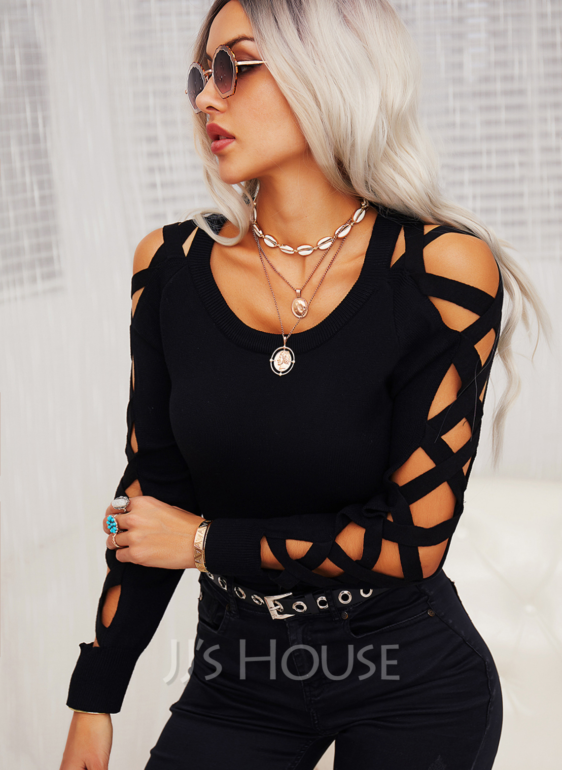 Regular Cotton Blends Cold Shoulder Solid Knit Blouses