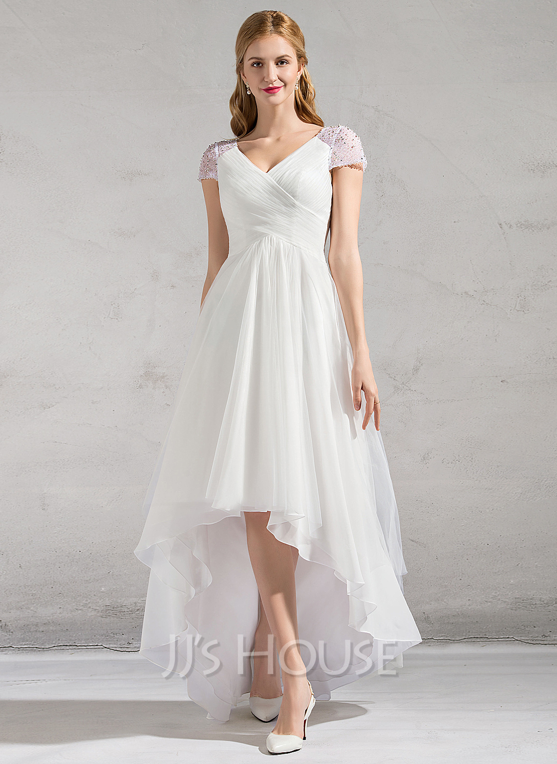 Beach p beach wedding dresses cheap A Line Princess V neck Asymmetrical Tulle Wedding Dress With Ruffle Beading Sequins