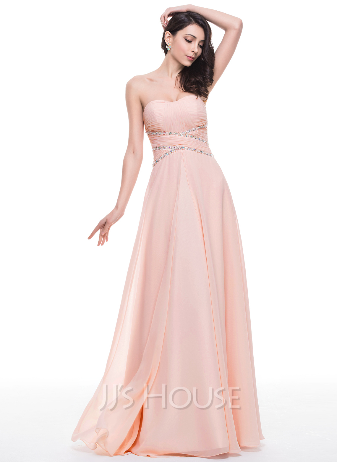 A Line Princess Sweetheart Floor Length Chiffon Prom Dress