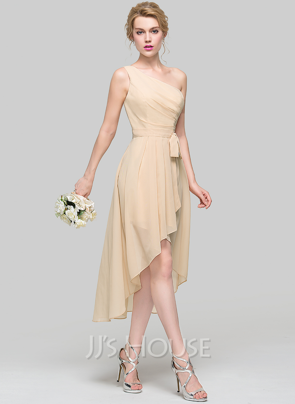 A-Line One-Shoulder Asymmetrical Chiffon Bridesmaid Dress With Ruffle Bow(s) Cascading Ruffles