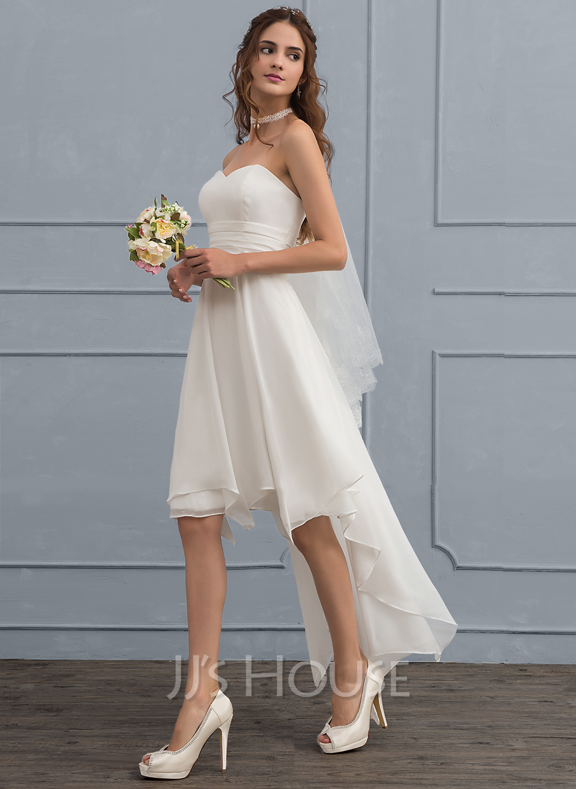 A-Line/Princess Sweetheart Asymmetrical Chiffon Wedding Dress With ...