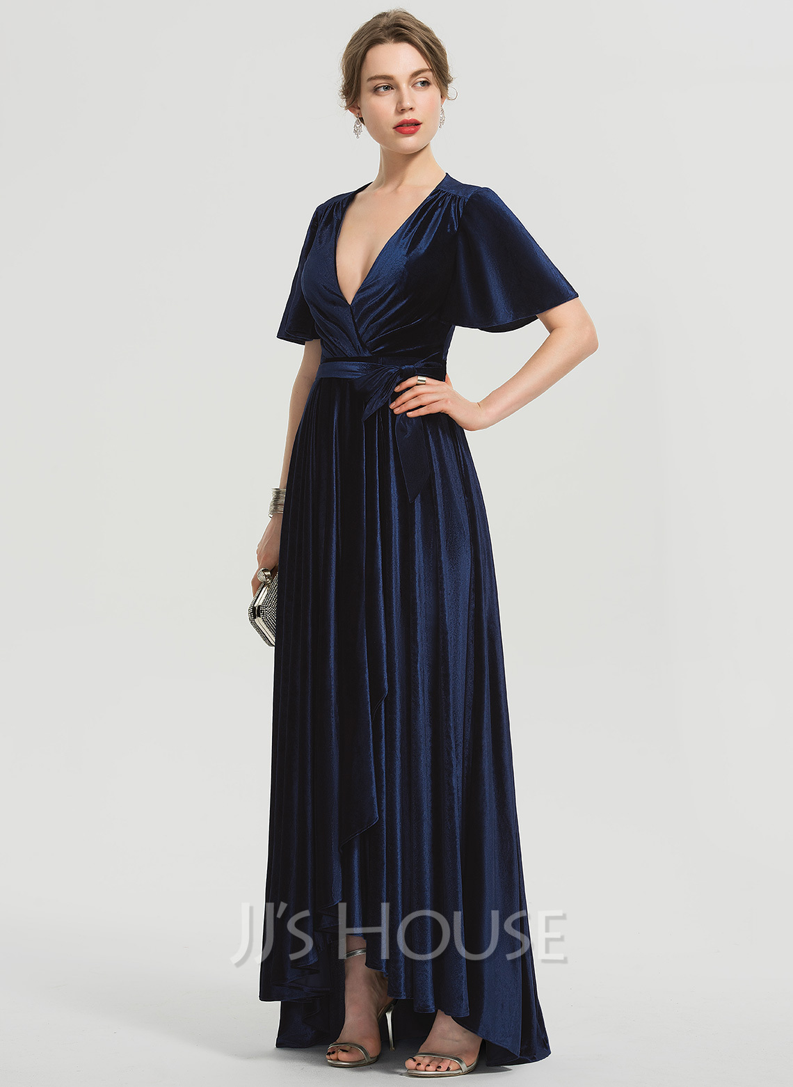 A-Line V-neck Asymmetrical Velvet Prom Dresses With Bow(s)