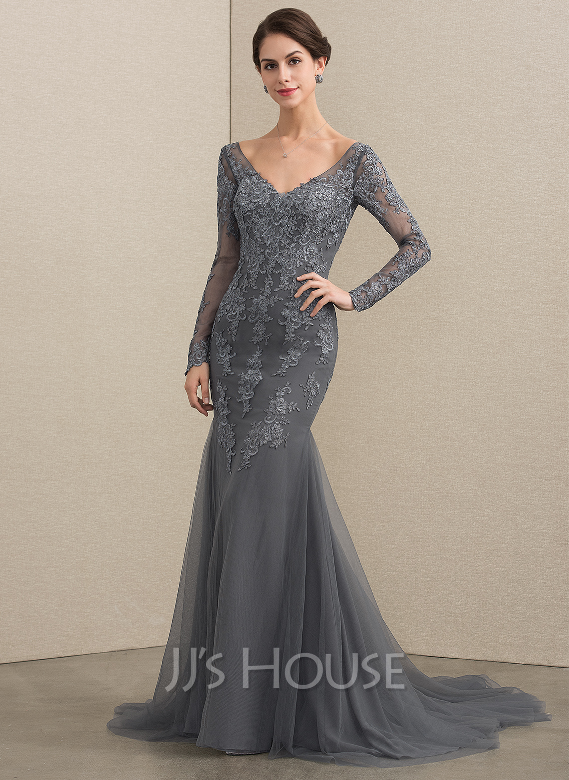 afeb0acf184 Trumpet Mermaid V-neck Court Train Tulle Lace Mother of the Bride Dress.  Loading zoom