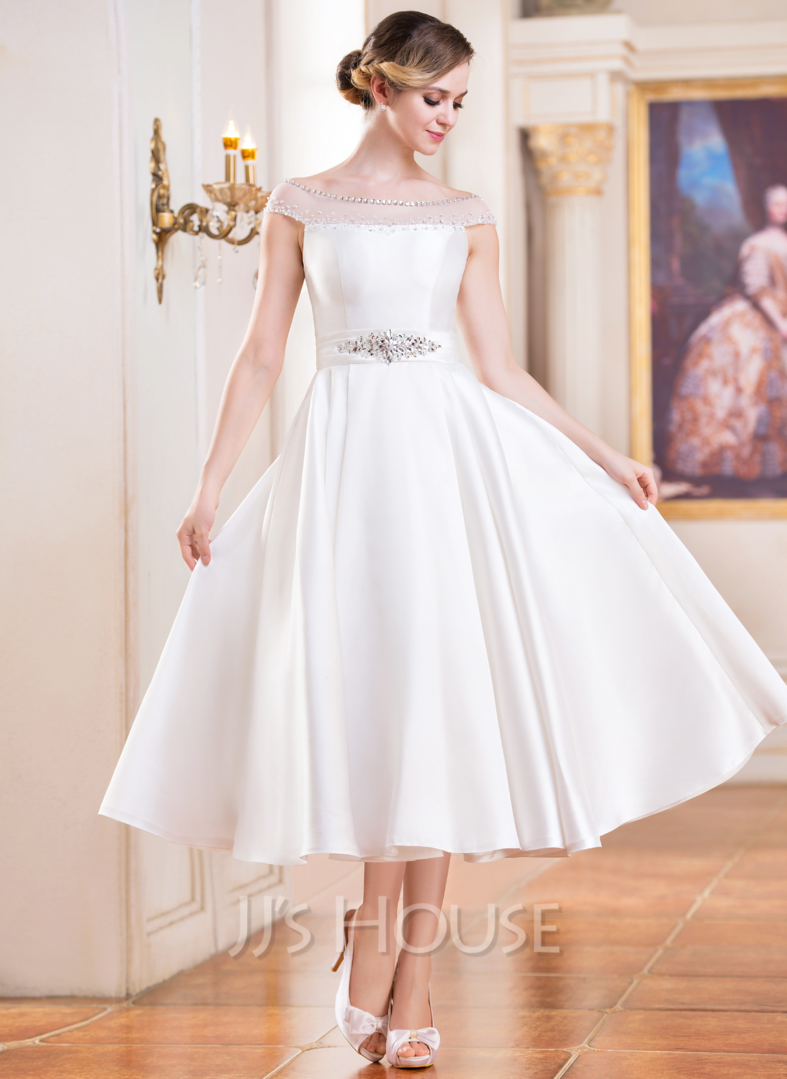 a line princess off the shoulder tea length satin wedding