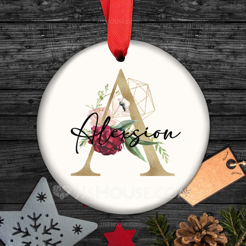 Personalized/Double Sided Custom Delicate/Elegant Ceramic Tag Wedding Ornaments
