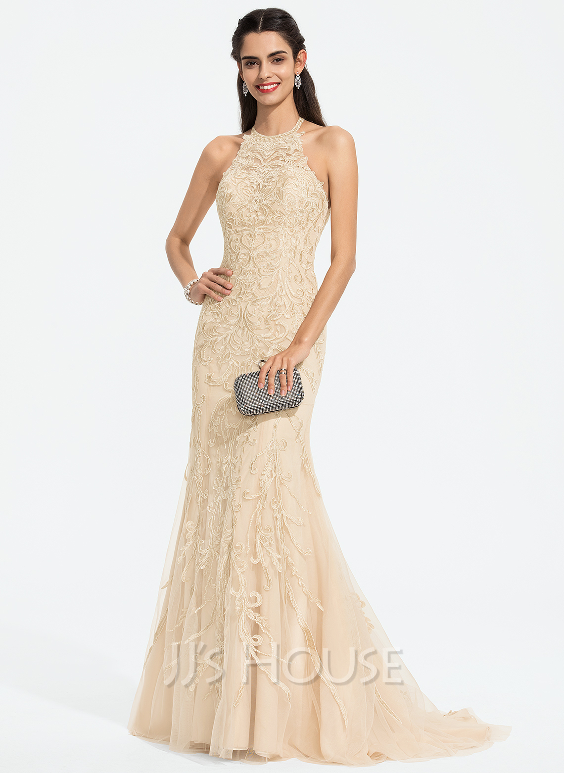Trumpet/Mermaid Scoop Neck Sweep Train Tulle Prom Dresses With Sequins