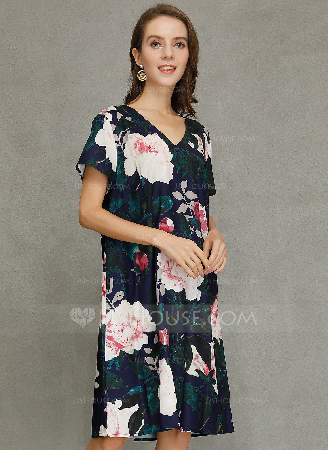 Polyester/Cotton Blends With Print Knee Length Dress