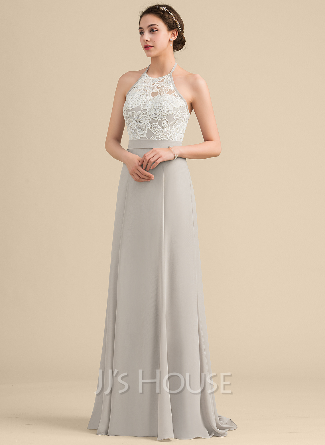 Halter Sweep Train Chiffon Sequined Bridesmaid Dress With Bow(s)
