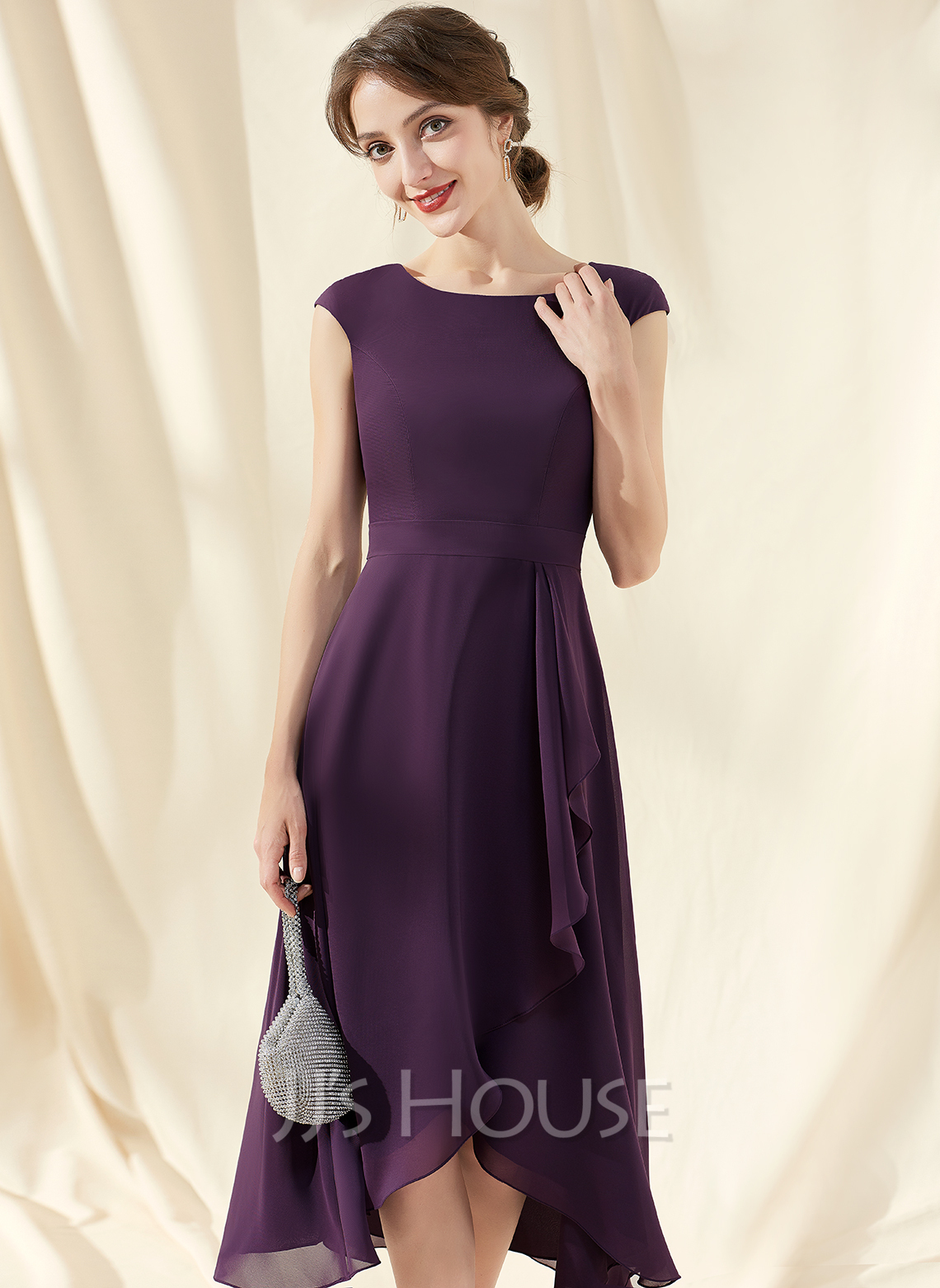 A-Line Scoop Neck Asymmetrical Chiffon Cocktail Dress With Bow(s) Cascading Ruffles