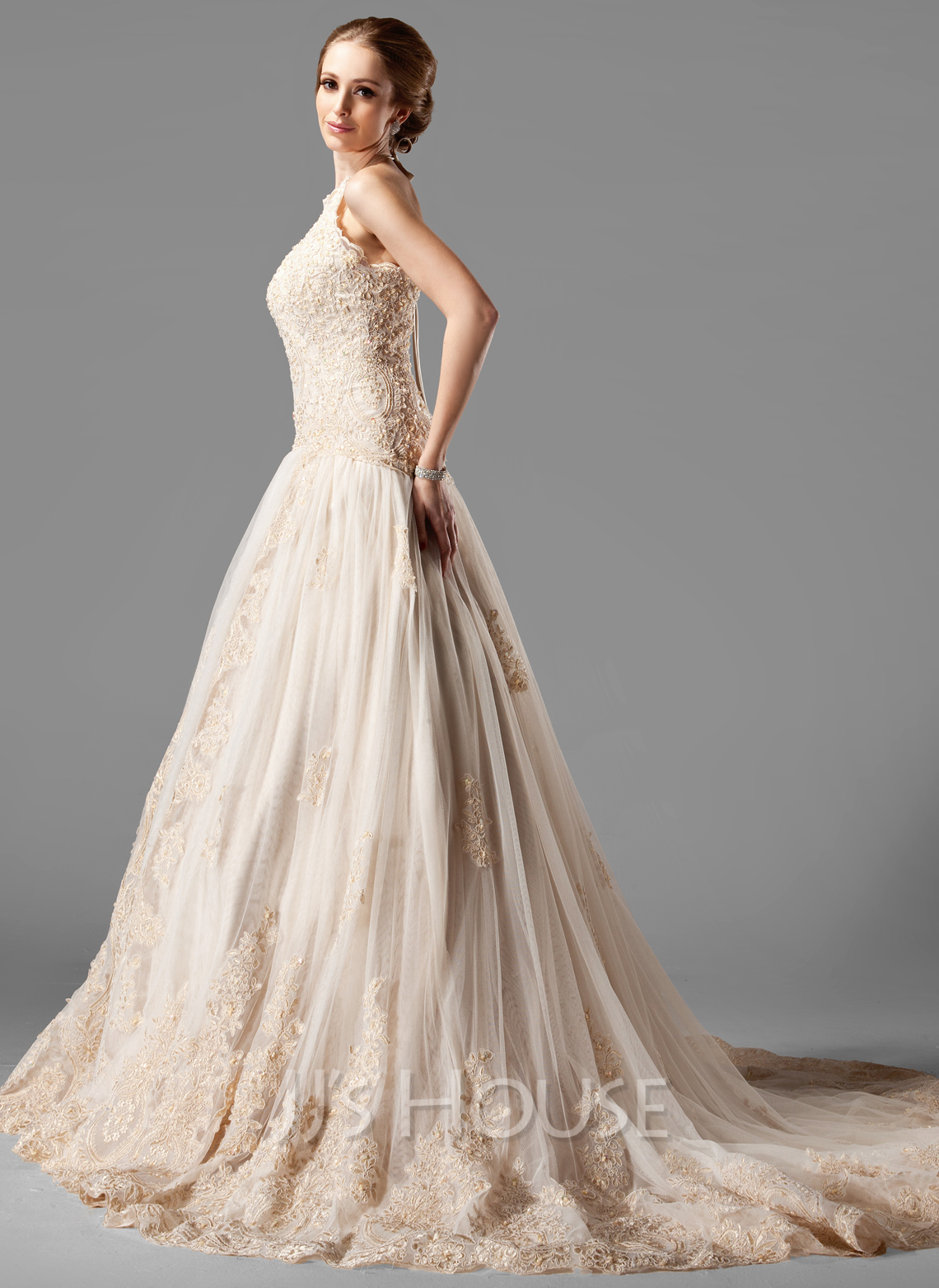 Ball Gown Halter Chapel Train Tulle Lace Wedding Dress With Beading