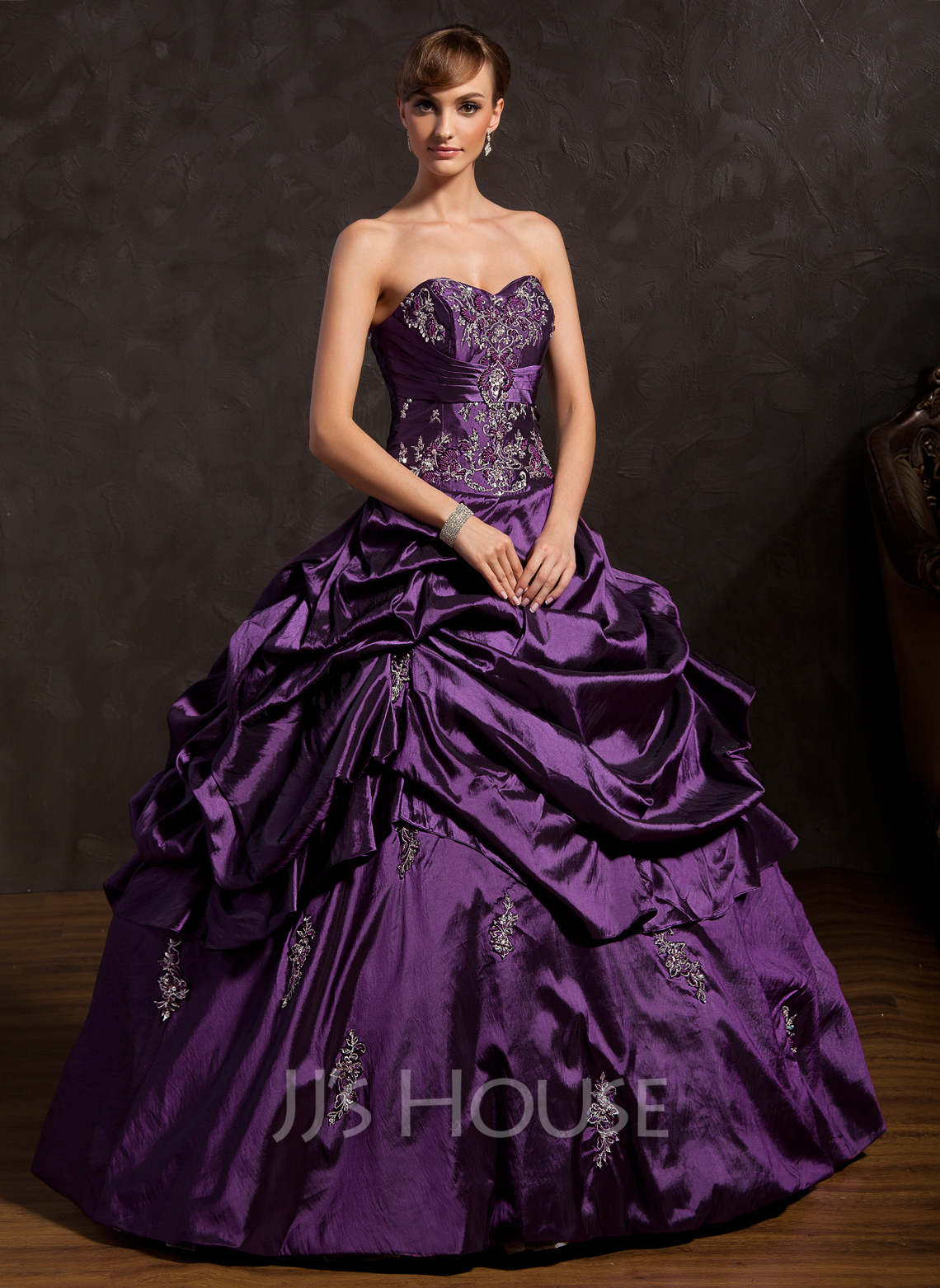 fcd0961cb95 Ball-Gown Sweetheart Floor-Length Taffeta Quinceanera Dress With Embroidered  Ruffle Beading. Loading zoom