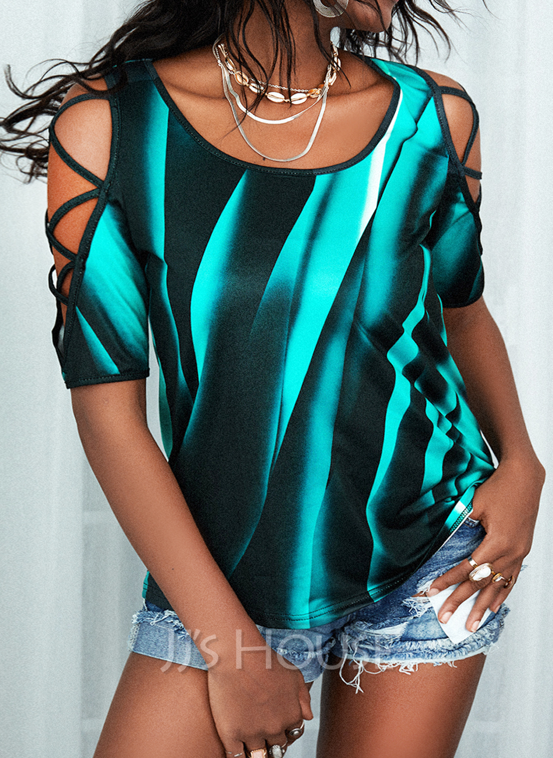 Regular Fitted Print Casual 1/2 Sleeves