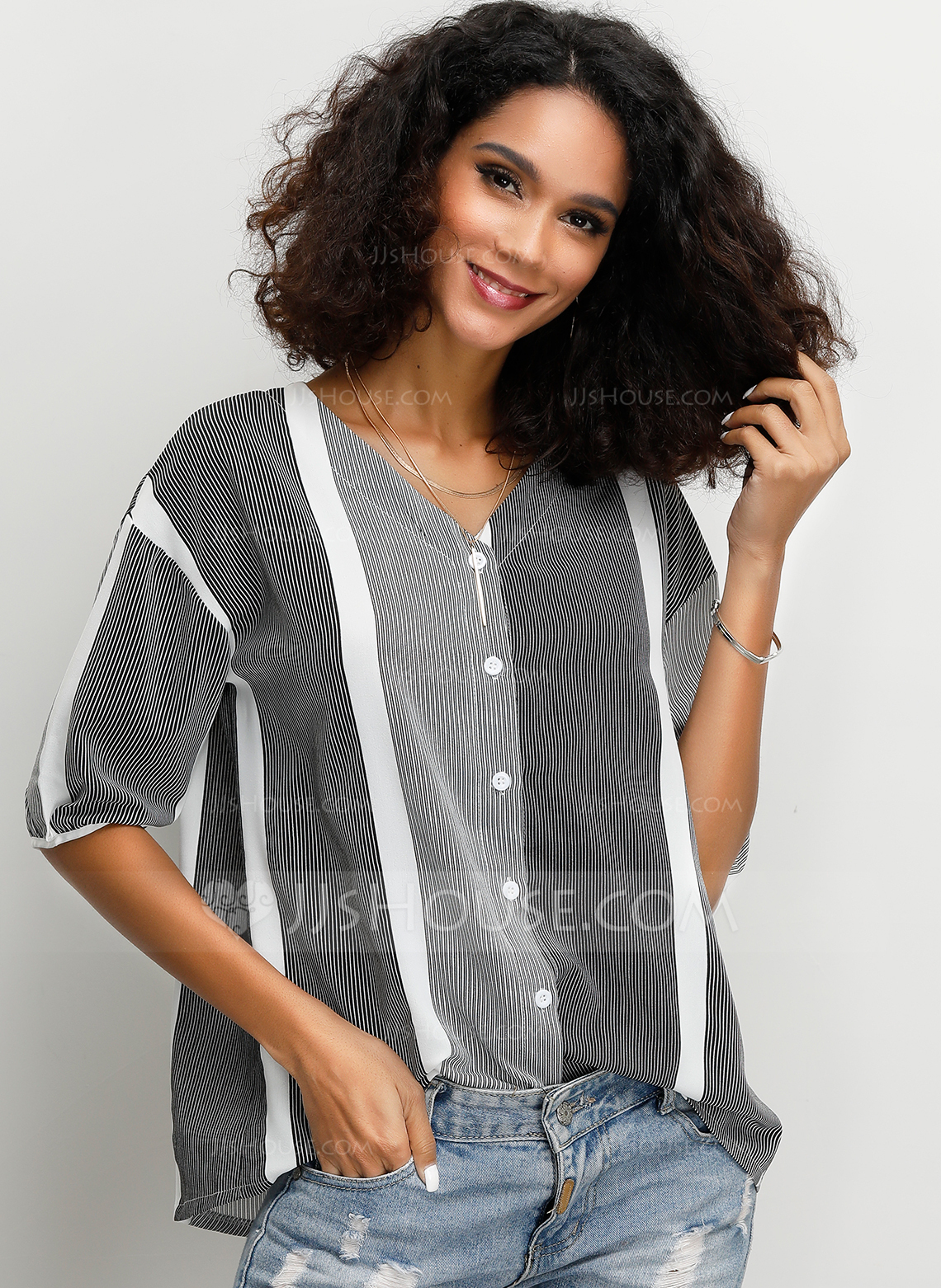 1/2 Sleeves Lace Polyester V Neck Blouses