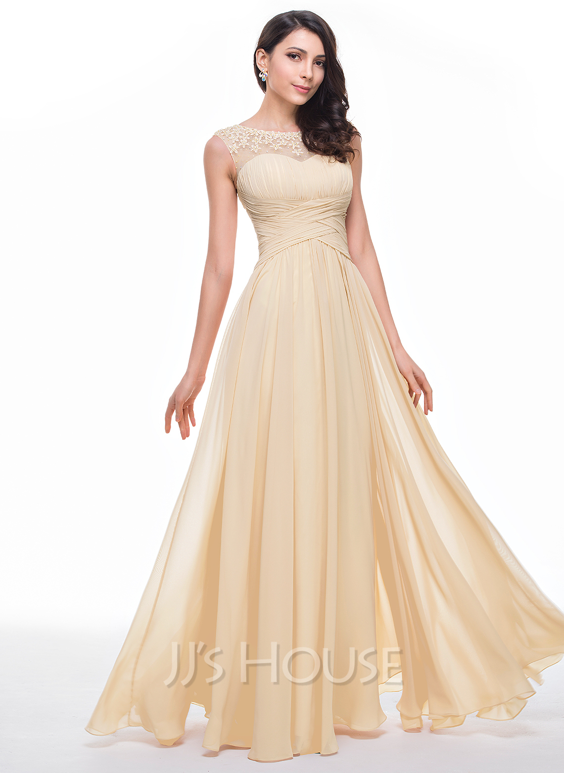 fdc4353b08f A-Line Princess Scoop Neck Floor-Length Chiffon Prom Dresses With Ruffle  Beading. Loading zoom