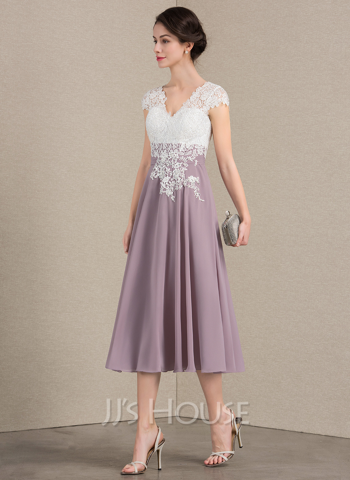 V-neck Tea-Length Chiffon Lace Mother of the Bride Dress