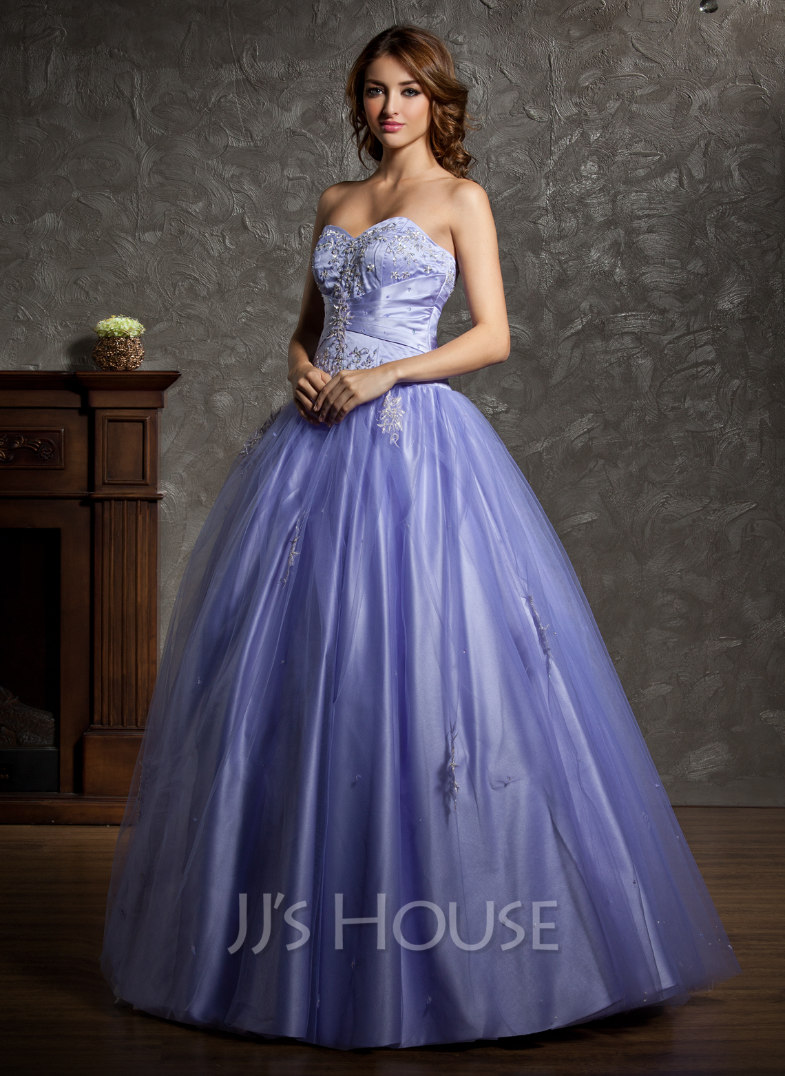Ball-Gown Sweetheart Floor-Length Tulle Quinceanera Dress With Beading Appliques Lace