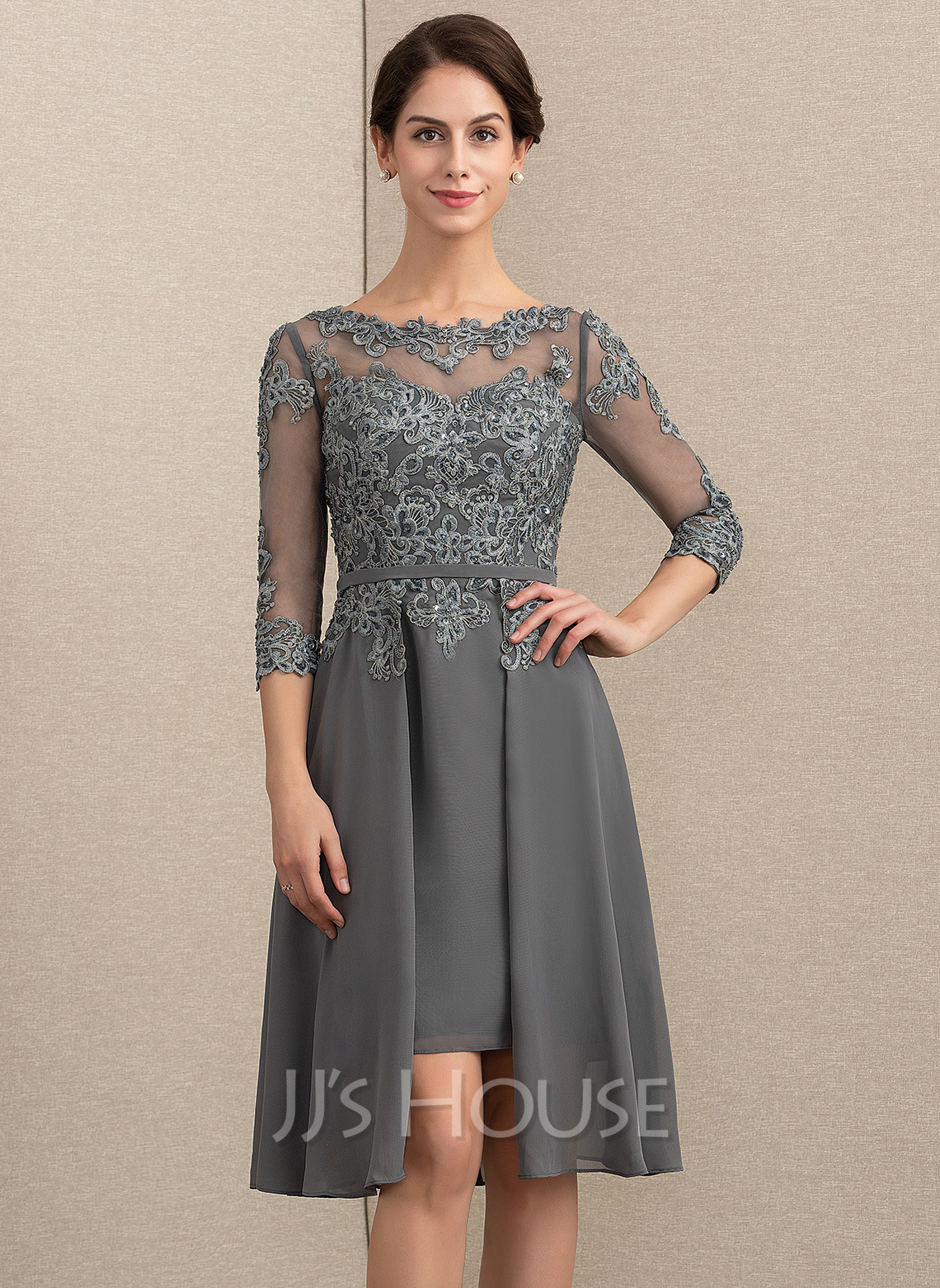 a3585c99b9f6 A-Line Princess Scoop Neck Asymmetrical Chiffon Lace Mother of the Bride  Dress With. Loading zoom
