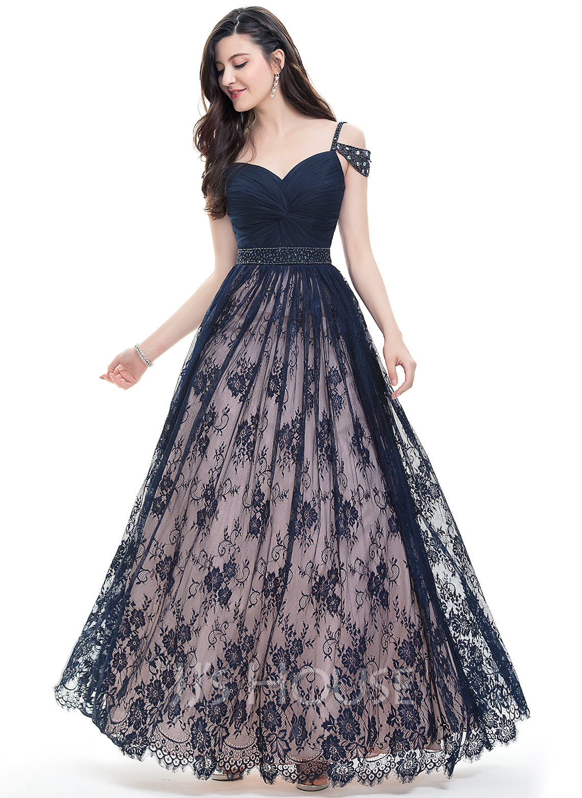 5c31e6fccdd Ball-Gown Sweetheart Floor-Length Lace Prom Dresses With Ruffle Beading  Sequins. Loading zoom