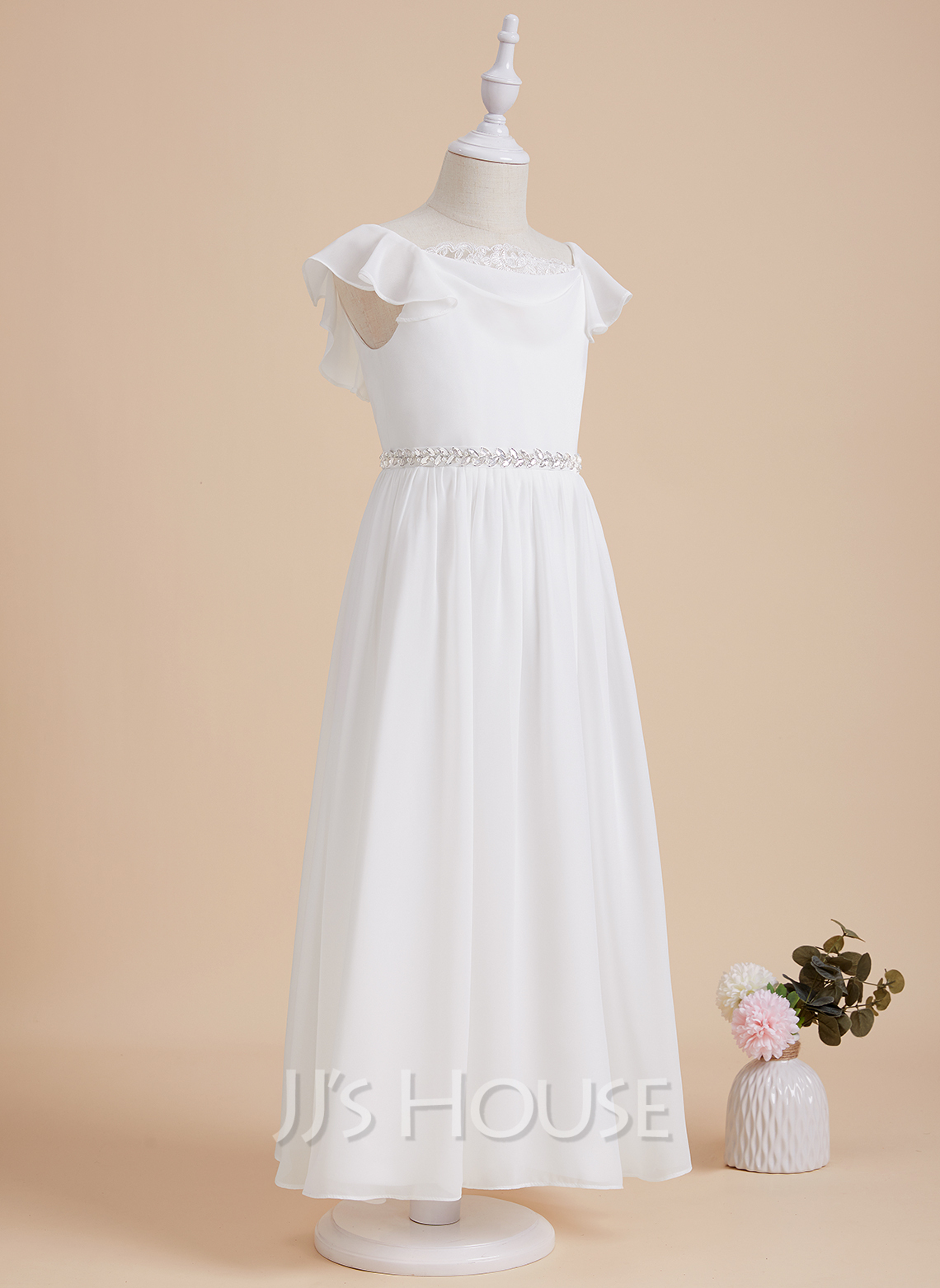 A-Line Ankle-length Flower Girl Dress - Chiffon/Lace Short Sleeves Scoop Neck With Beading