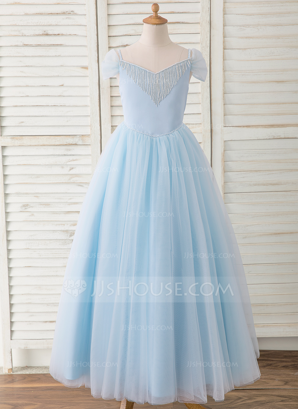 540a6a0c1fb Ball-Gown Princess Floor-length Flower Girl Dress - Satin Tulle Sleeveless  Off-the-Shoulder With Beading Bow(s)  183539