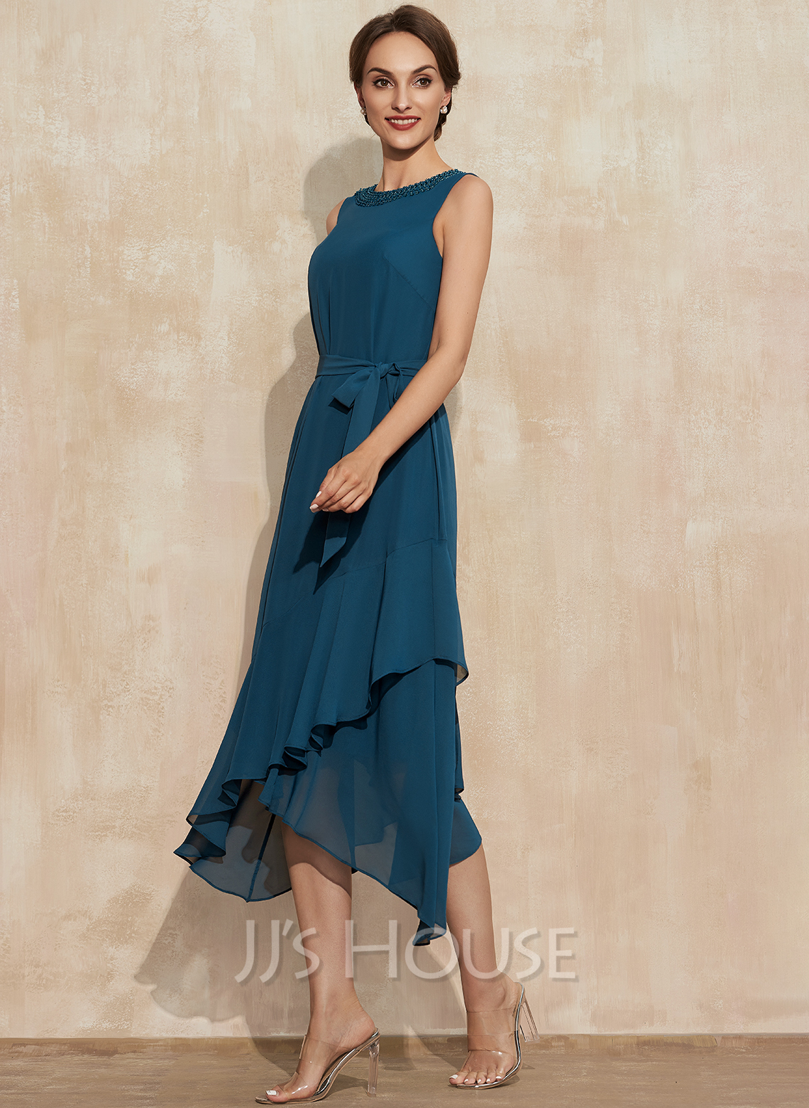 A-Line Scoop Neck Asymmetrical Chiffon Mother of the Bride Dress With Beading Cascading Ruffles