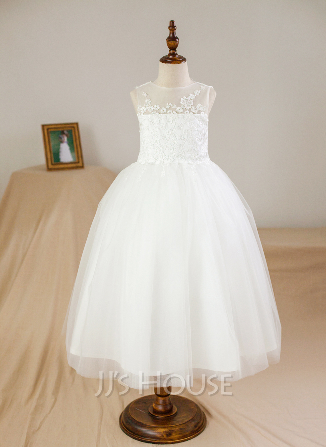 Ball Gown Ankle-length Flower Girl Dress - Satin Tulle Sleeveless Scoop Neck With Appliques