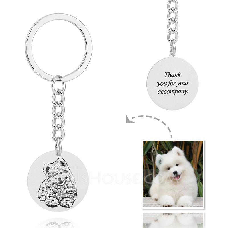 Personalized Circle/Photo Engraved/Black And White Platinum Plated/Sterling Silver Keychains