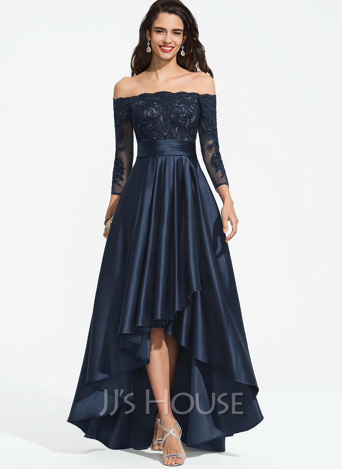 Off-the-Schulter Asymmetrisch Satin Abiballkleid