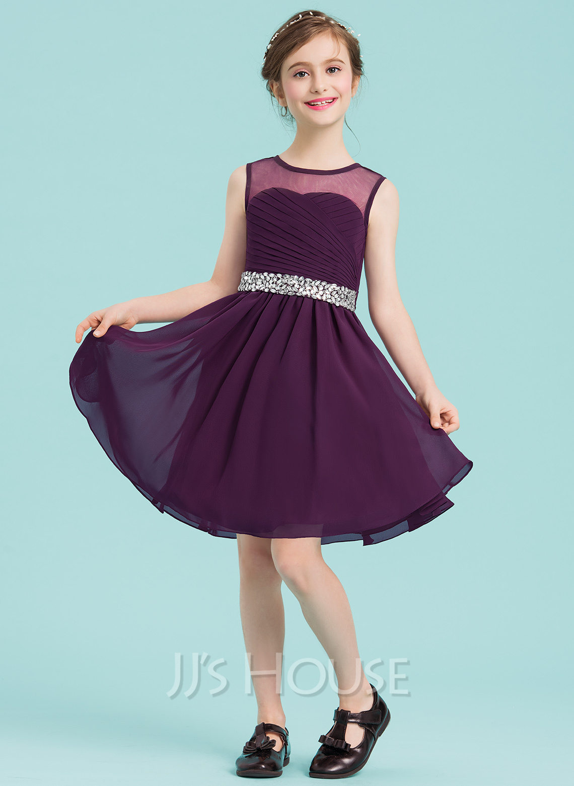 [US$ 70.00] A-Line/Princess Scoop Neck Knee-Length Chiffon Junior Bridesmaid Dress With Ruffle Beading - JJsHouse