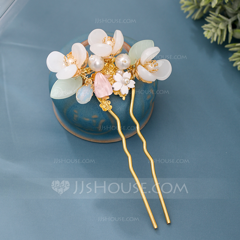 Ladies Elegant Crystal/Imitation Pearls/Glass Hairpins With Venetian Pearl/Crystal (Sold in single piece)