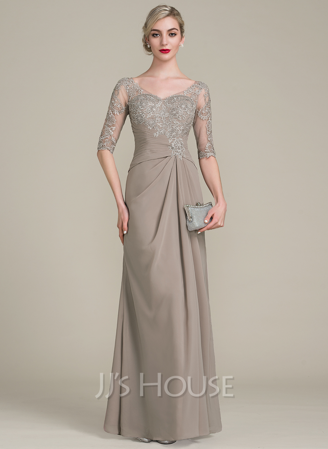 A-Line V-neck Floor-Length Chiffon Lace Mother of the Bride Dress With Ruffle