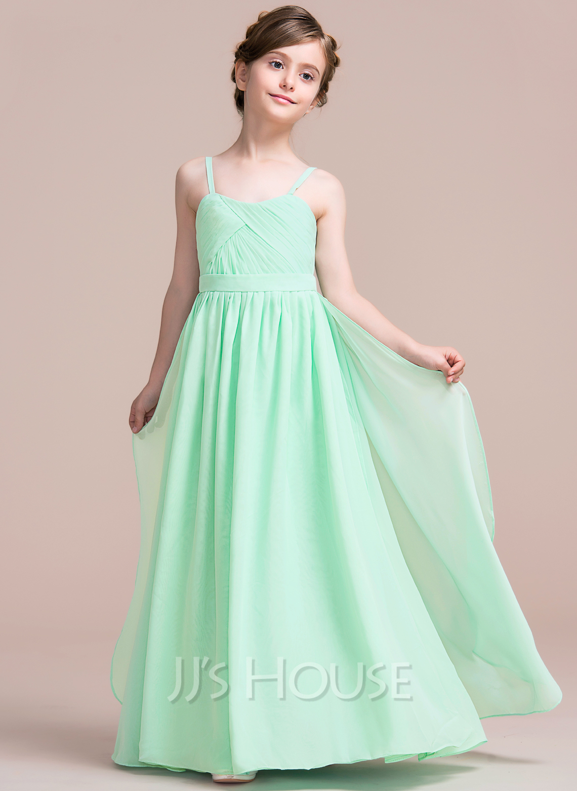 Sweetheart Floor-Length Chiffon Junior Bridesmaid Dress With Cascading Ruffles
