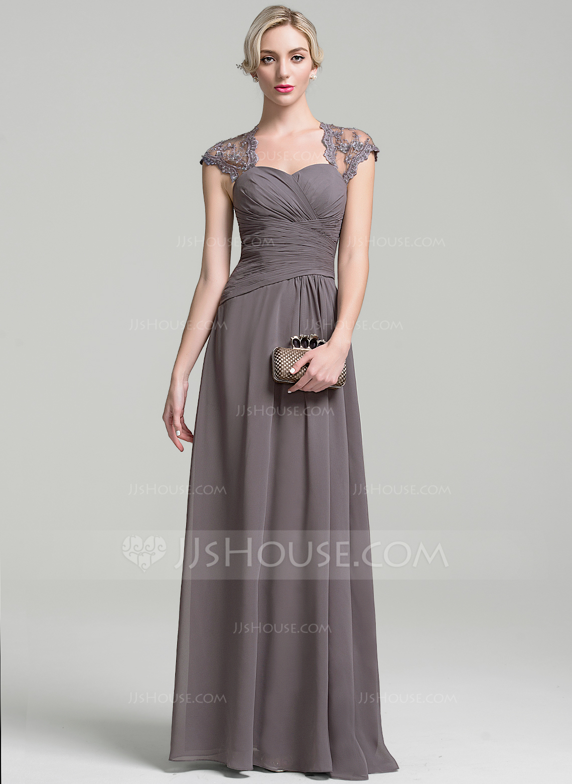 A Line Princess Sweetheart Floor Length Chiffon Mother Of