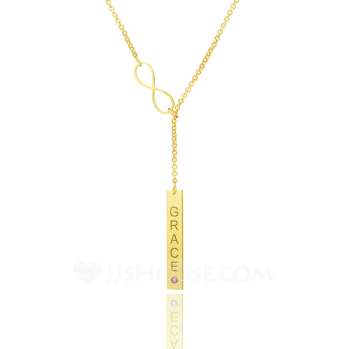 Custom 18k Gold Plated Infinity Birthstone Necklace Bar Necklace With Diamond - Birthday Gifts Mother's Day Gifts