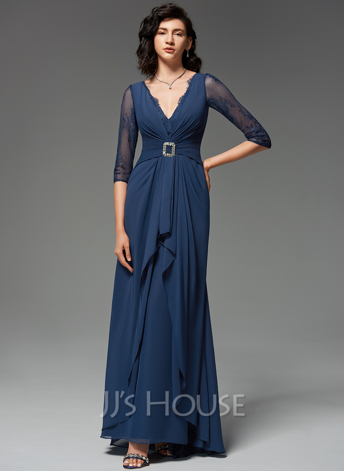 A-Line V-neck Sweep Train Evening Dress With Ruffle