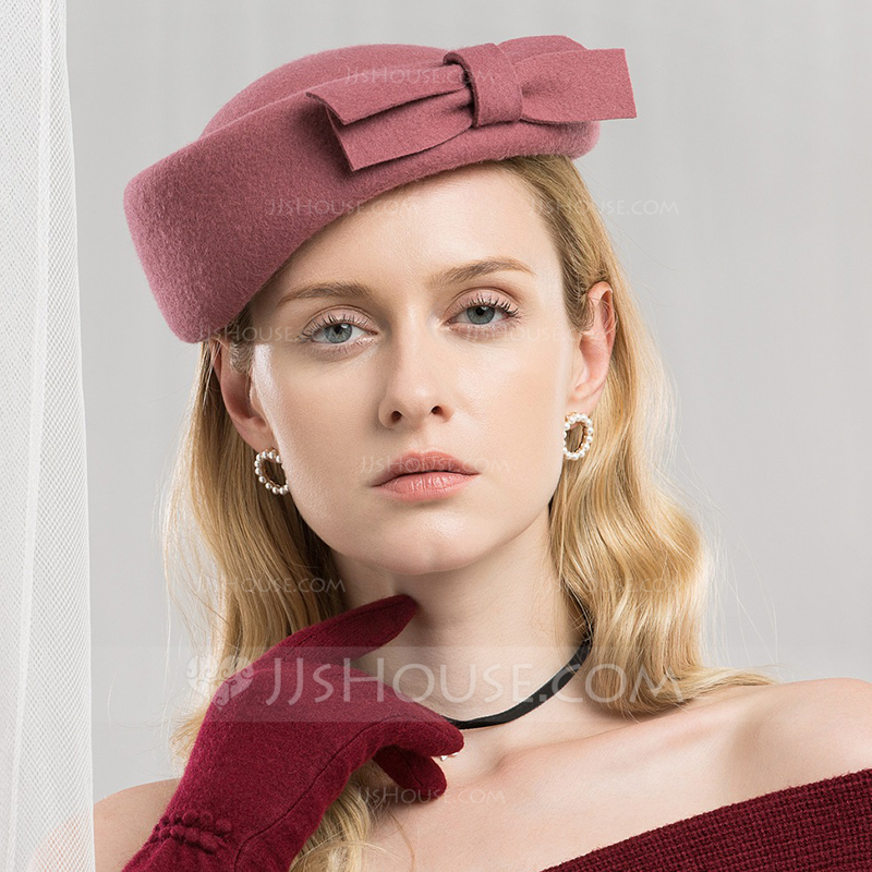 Ladies' Simple/Romantic Wool With Bowknot Beret Hat