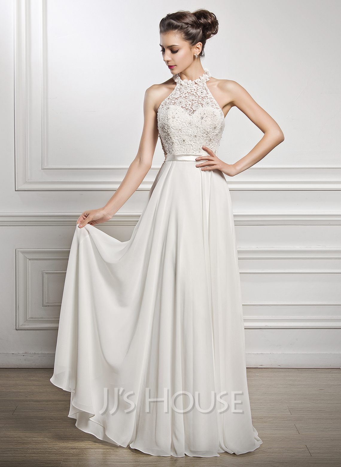 A Line Princess Scoop Neck Floor Length Chiffon Lace Wedding Dress With Beading Loading Zoom