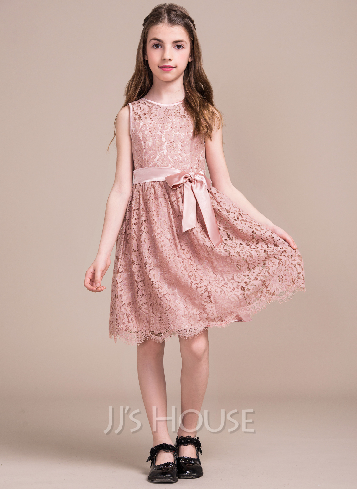 9adcf0ce1f3 A-Line Scoop Neck Knee-Length Lace Junior Bridesmaid Dress With Bow(s.  Loading zoom