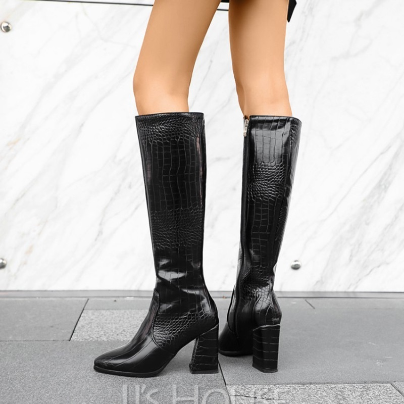 Women's Leatherette Chunky Heel Mid-Calf Boots Pointed Toe With Animal Print Solid Color shoes