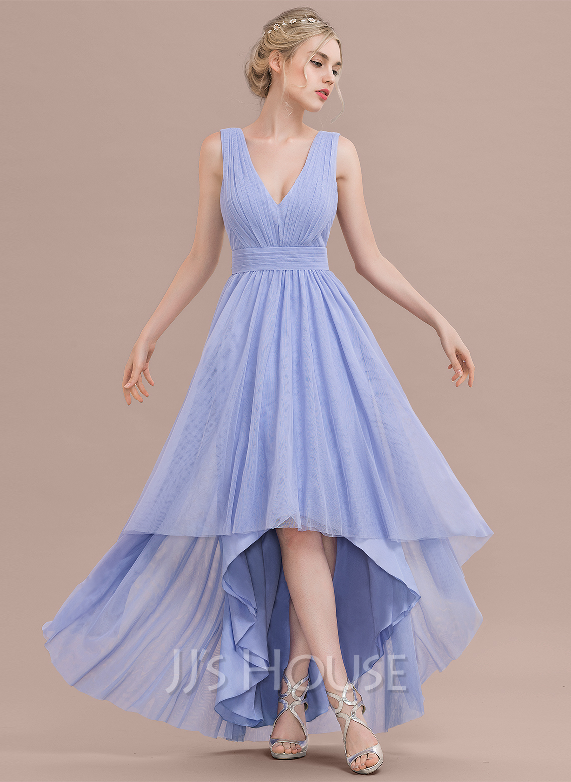 V-neck Asymmetrical Tulle Bridesmaid Dress With Ruffle