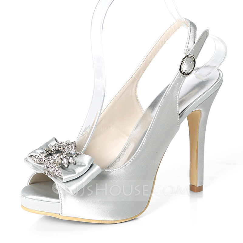 Women's Silk Like Satin Stiletto Heel Peep Toe Platform Pumps Sandals Slingbacks