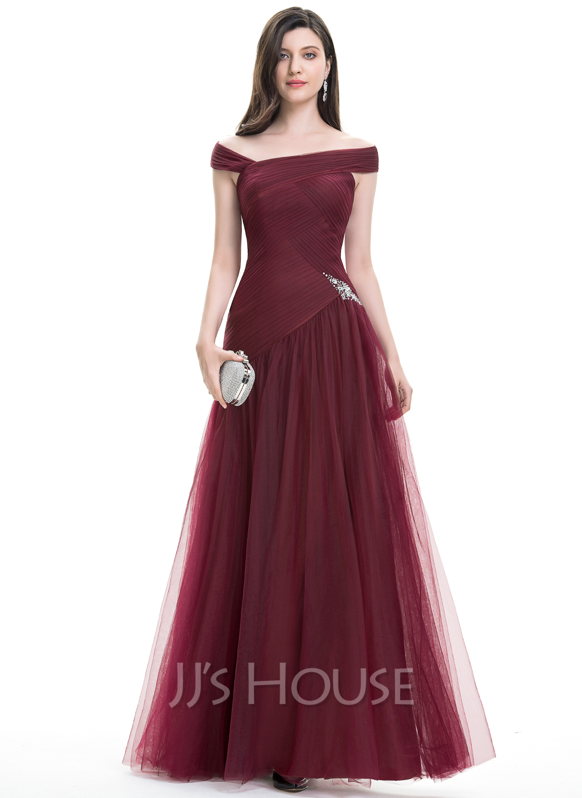 A-Line/Princess Off-the-Shoulder Floor-Length Tulle Prom Dresses With Ruffle Beading Sequins