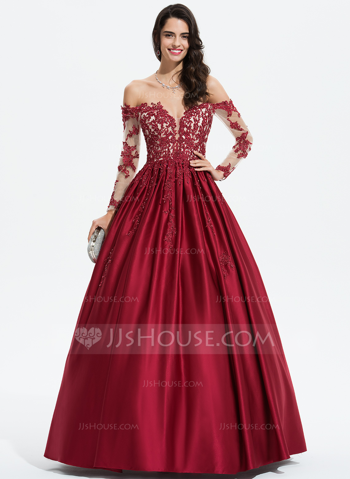 b8154174a2f5 Ball-Gown/Princess Off-the-Shoulder Floor-Length Satin Prom Dresses.  Loading zoom