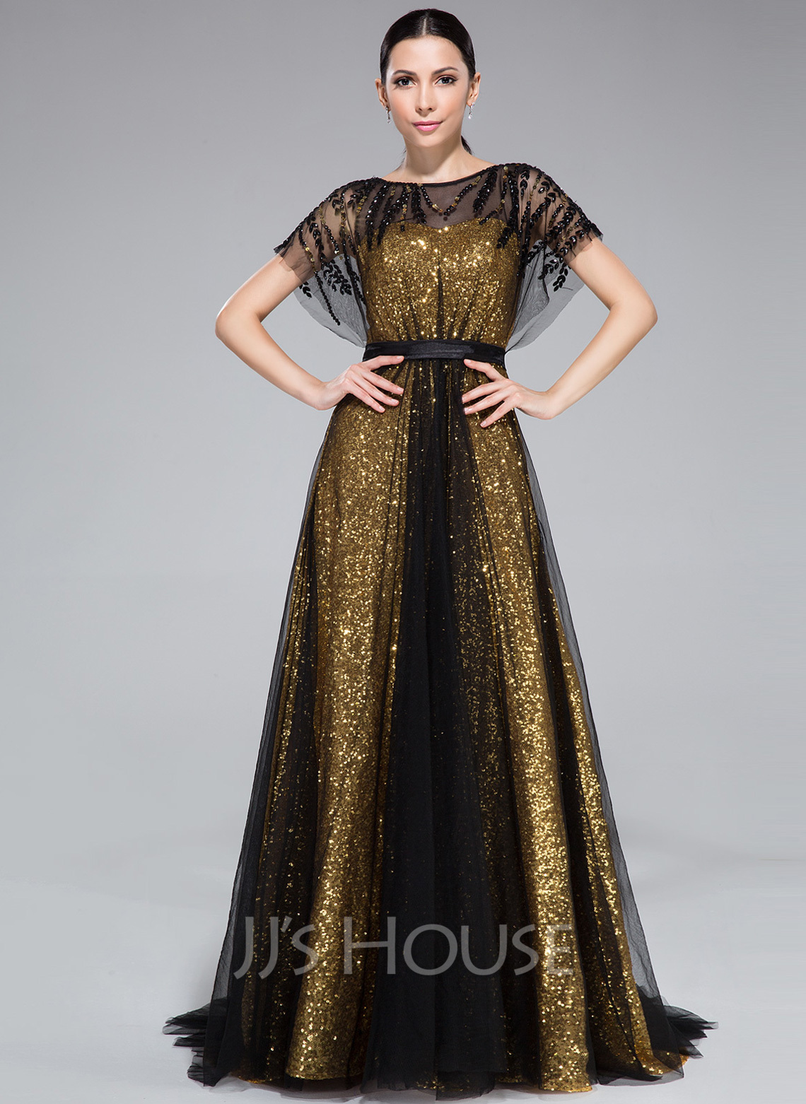 Scoop Neck Sweep Train Tulle Sequined Evening Dress